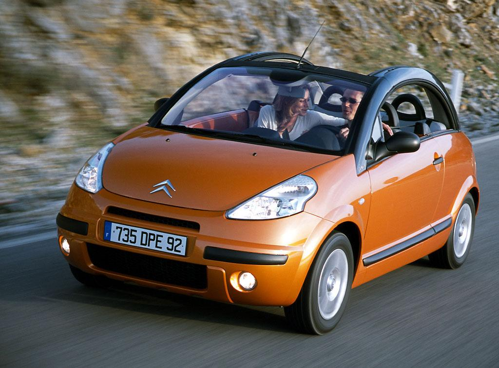 C3 Pluriel 2002 Orange Aérien 3/4 AV